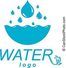 agua pura, vector, resumen, logotype, para, uso, en, agua mineral, advertising., humano, y, naturaleza, armonía, concept.