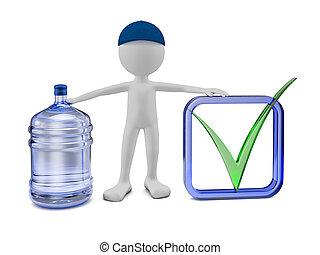 agua, purificado, botella, hombre