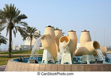 agua, qatar, característica, olla, doha