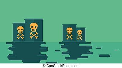 agua, radioactivo, barrel., plano de fondo, contaminado