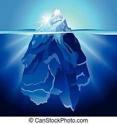 agua, realista, vector, iceberg, plano de fondo