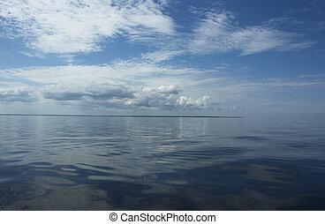 agua, reflejar, cielo