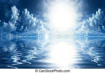 agua, reflexiones, skyscape