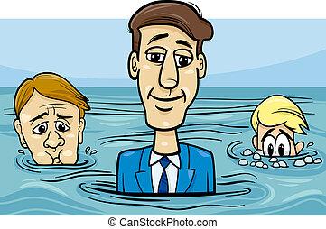 agua, refrán, cabeza, caricatura, sobre