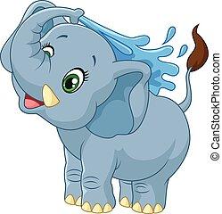 agua, rociar, caricatura, elefante