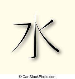 agua, símbolo, chino, confucionismo, icono, línea, vector, ...