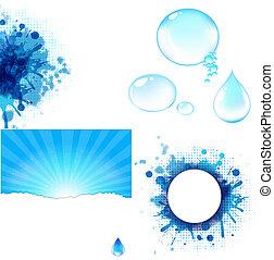 agua, símbolo, grande, conjunto