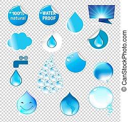 agua, símbolos, conjunto