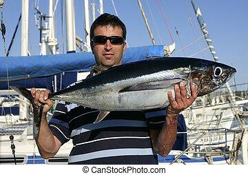 agua salada, grande, juego, pescador, atún
