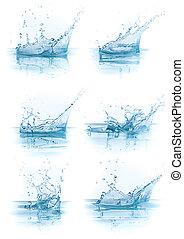 agua, salpicadura, colección