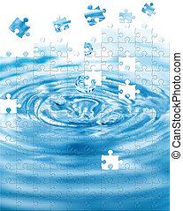 agua, salpicadura, con, rompecabezas, efecto