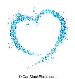 agua, salpicadura, corazón