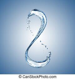 agua, salpicadura, en forma, de, número 8, en, azul