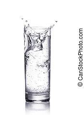 agua, salpicadura, en, un, vidrio., aislado, blanco