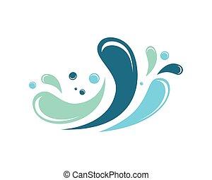 agua, salpicadura, logotipo
