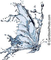 agua, salpicadura, mariposa