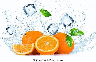 agua, salpicadura, naranjas