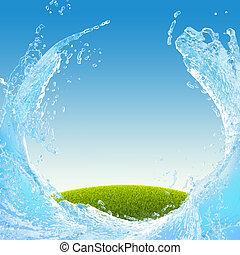 agua, salpicadura, pradera verde