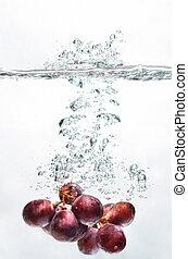 agua, salpicadura, uva, fruta