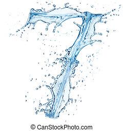 agua, salpicaduras, número