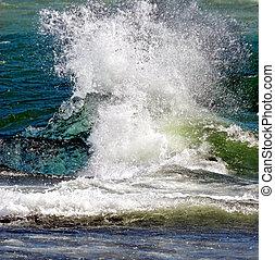 agua, salpicar, mar
