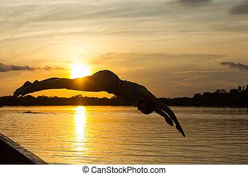 agua, salto, barco