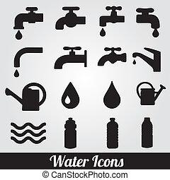 agua, set., relacionado, iconos