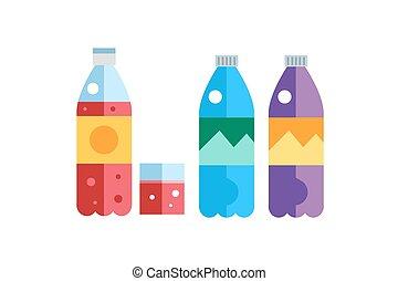 agua, soda, y, jugo, o, té, botellas