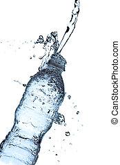 agua, splashin, botella