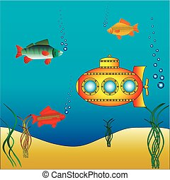 agua, submarino, amarillo, debajo