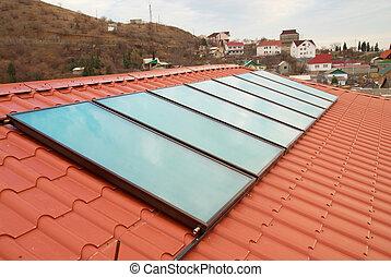 agua, system., calefacción, solar