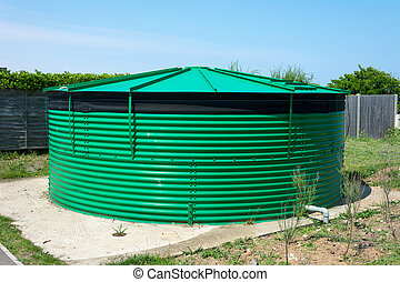 agua, tank., almacenamiento, cilíndrico