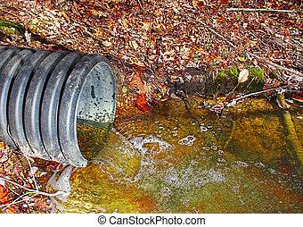 agua, tiempo, mismo, drenaje, tubo desecho, re-routing, flujo, ambiente, contaminar