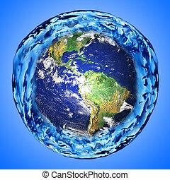 agua, tierra, alrededor