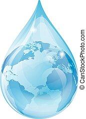 agua, tierra, gota, concepto