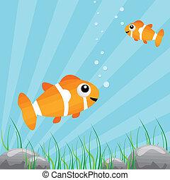 agua tropical, pez, debajo