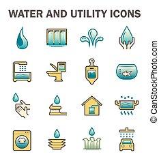 agua, uso, icono