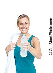 agua, valor en cartera de mujer, botella