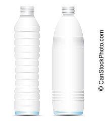 agua, vector, botella vacía
