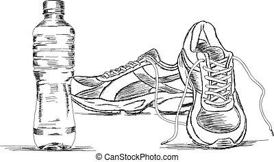 agua, vector, zapatillas, botella