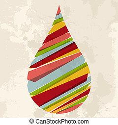agua, vendimia, multicolor, gota