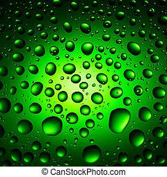 agua verde, gotas, plano de fondo