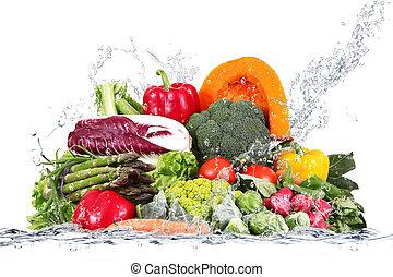 agua, verduras frescas, caer