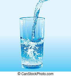 agua, vertido, en, un, vaso