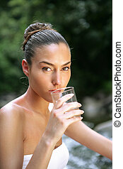 agua, vidrio, bebida, mujer, corriente
