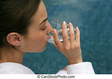 agua, vidrio, bebida, mujer