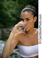 agua, vidrio, bebida, mujer, río