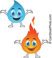 agua, y, fuego, caricatura