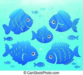 agua, y, pez, siluetas, imagen, 2