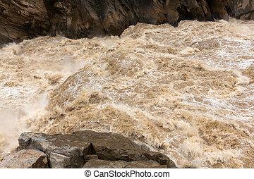 agua, yangtze, áspero, río
